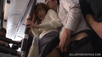 Naughty couple won't go home for sex, they do it right their in a public bus