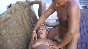Threesome with old chunky granny and her old lovers outdoors