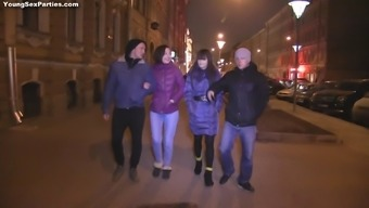 Radiant Russian teens getting fucked hardcore in an erotic foursome