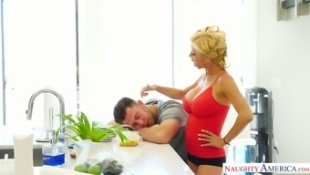 Perverted milf with big fake tits Alexis Fawx seduces her handsome stepson