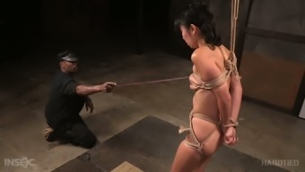 Tightly bound Asian GF Marica Hase had hard BDSM scene with black man