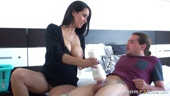 isis love strokes her stepson's cock with the fleshlight