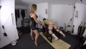 Mistress V Caning Her slave