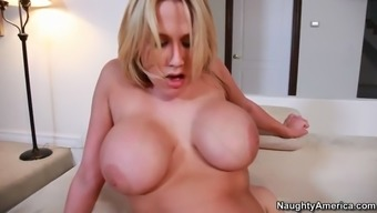 large boobed girl alanah rae pounding herself down on his fat cock
