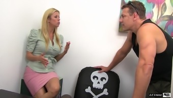 Gorgeous blonde Alexis Fawx spreads her legs for a handsome lover