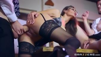 busty teacher sensual jane teaches ginger student ella hughes fucking in 3some