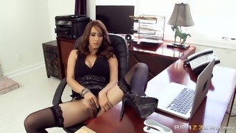 Isis Love pulls her skirt up to uncover stockings to this guy