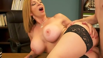 Hot babe Sara Jay loves to take charge and she is an awesome dick rider