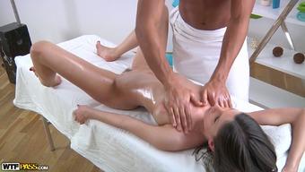 White oiled up sweetie sucks BBC of her cute massage therapist