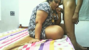 Super chubby Indian bitch gives not bad blowjob on the bed