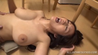 Busty Asian cowgirl delivers a blazing tit job then gets humped till orgasm