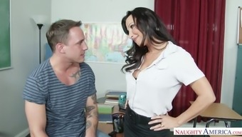 Hot teacher Lezley Zen asks her student to lick her wet pussy
