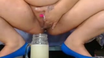 bbw preg squirts into jar and drinks