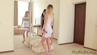 Flexible skinny teen contortion doll gets extreme stretched by her girlfriend