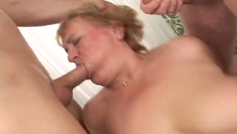Hardcore gangbang sex tape with a busty blonde granny