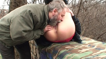 Gorgeous Czech pornstar gets fucked by a horny old chap outdoors