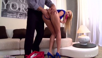 Slim blonde Lindsey Olsen is crazy seductive and she loves MMF threesomes