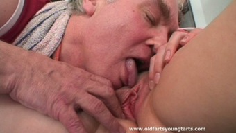 Sporty black haired girlie Milada gets her wet pussy eaten by horny old man