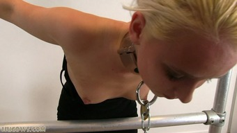 Severe punishment for blonde sex slave on milking machine