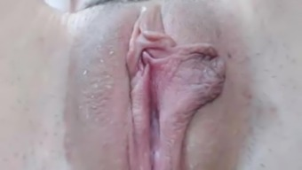 Hairy wet pussy closeup