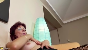 Lovely mature mother bating her hairy pussy and piss