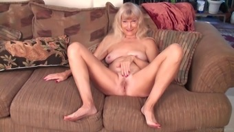 Skinny granny Nancy masturbating on FullHD camera