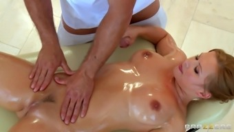 Oiled-up porn star with a hot body enjoying a hardcore fuck