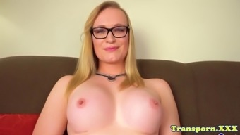gorgeous mature tranny strokes her cock