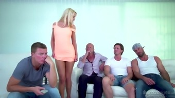 Perfect blondie Victoria Pure can easily please two strong cocks (FMM)