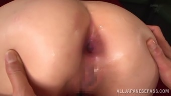 First a huge toy, then a hard cock get rammed into her pussy