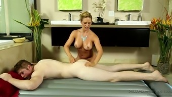 Busty fair haired masseur Cherie DeVille seduced brutal guy in massage parlor