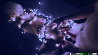 Steamy mish fuck with beautiful Canadian blondie Emma Hix wrapped in Led garland