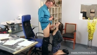 Young black haired secretary pleasures her mature boss with solid BJ in the office