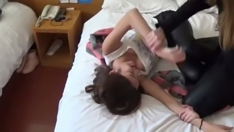 chinese girl gets armpits tickled by friend