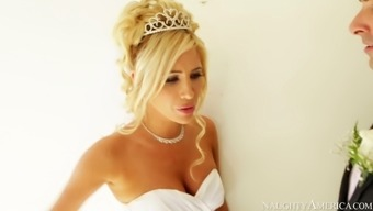 Hot blonde bride Tasha Reign gives blowjob to her fiancé Ryan Driller