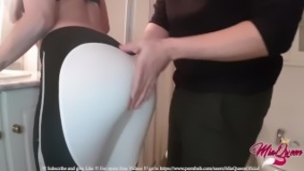 She loves being fucked in tight Yoga Pants, MASSIVE CREAMPIE; ByMiaQueen !!