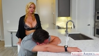 Sexually charged milf Alexis Fawx fucks her handsome stepson right in the kitchen