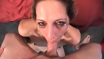 Adorable MILF giving mesmerizing blowjob before showering her face with cum in POV