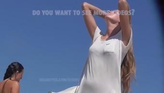 Slim teen ukrainian angel. Beach spy camera HD