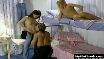 Eve Angel and Jo May are bisexuals who massage each others partially shaved muffs