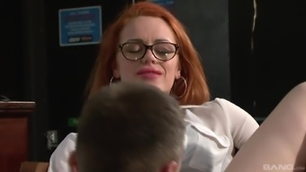 Ella Hughes wearing glasses and having her pierced twat banged