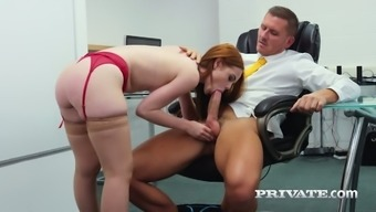 Red haired pretty office hoe Ella Hughes sucks strong cock at work