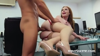 Bent over the glass table office slut Ella Hughes gets fucked properly