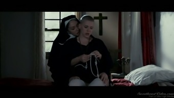 Horn-mad Romanian nun goes wild and eats juicy pussy of her novice