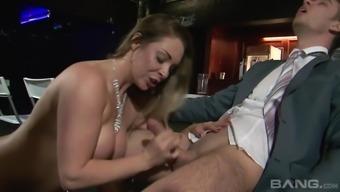 Lusty cheating bride Victoria Summers enjoying a stiff wiener