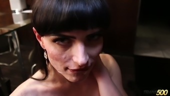 Svelte pale brunette ladyboy Natalie Mars gets analfucked missionary