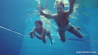 Torrid chick Marusia and her best friend flash their tits underwater
