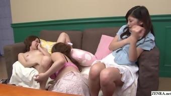 JAV friend watches lesbian sex followed by blowjob Subtitled