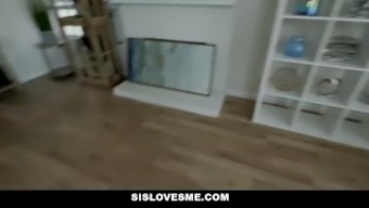 SisLovesMe - Pervy Stepbrother Gets Caught Snooping On Stepsis In Bathroom