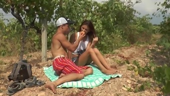 Fantasy outdoor fuck play with a skinny doll